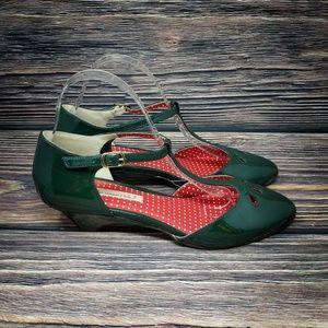 B.A.I.T. Modcloth Green & Red T Strap Kitten Heels